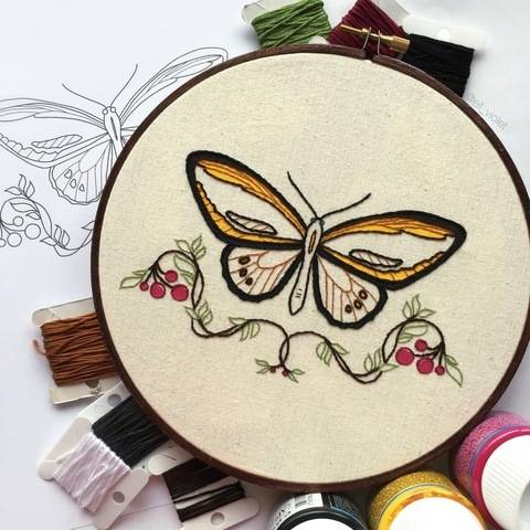Birdwing Butterfly Beginner Hand Embroidery Pattern at Makerist