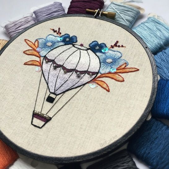 Floral Balloon Hand Embroidery Pattern and Tutorial  at Makerist - Image 1