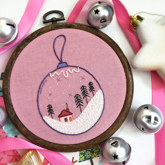 Pastel Christmas Bauble Ornament Hand Embroidery Pattern at Makerist - Image 1