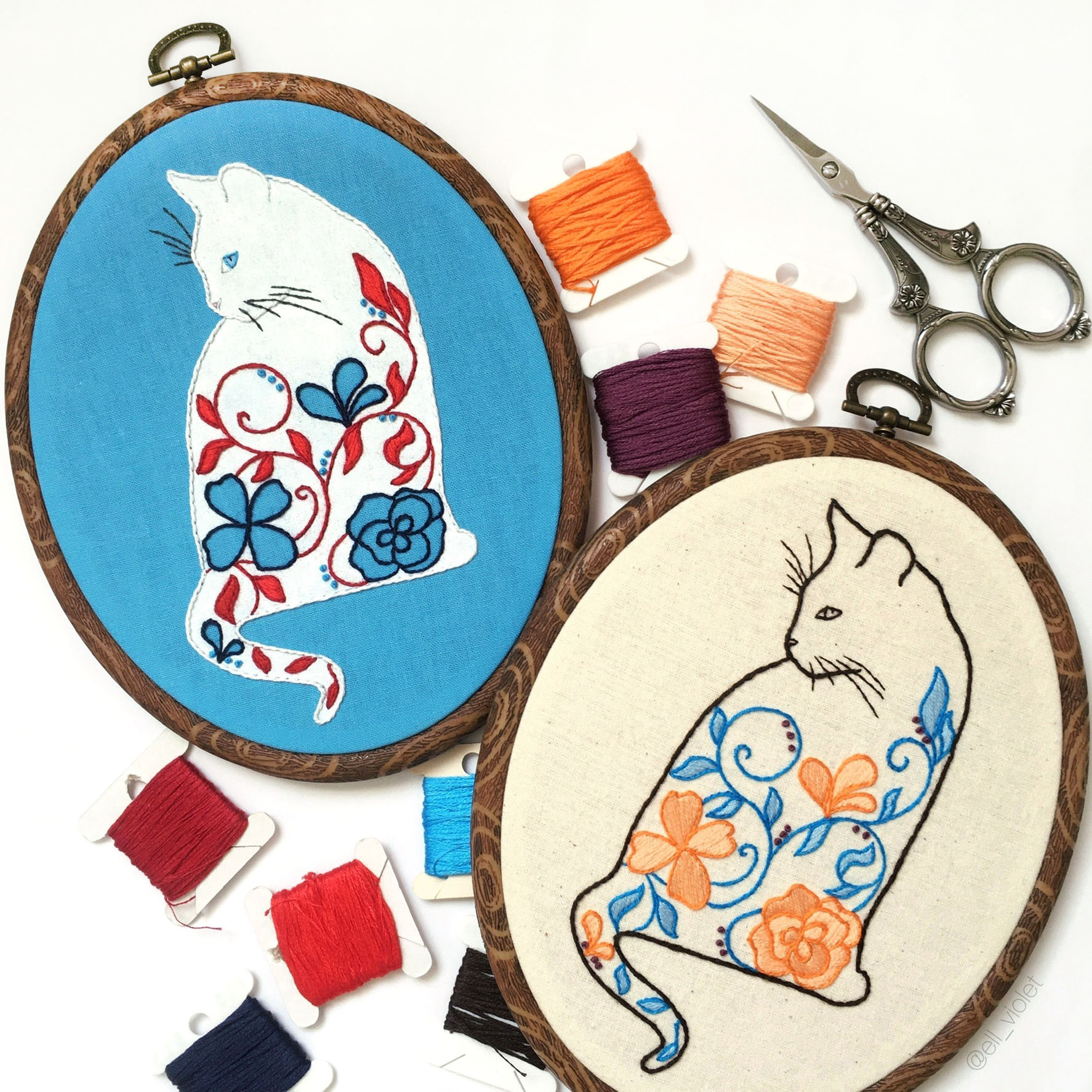 Floral Cat Hand Embroidery Pattern