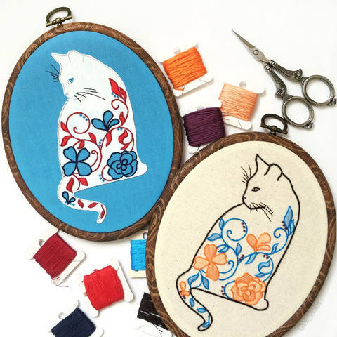 Floral Cat Hand Embroidery Pattern at Makerist