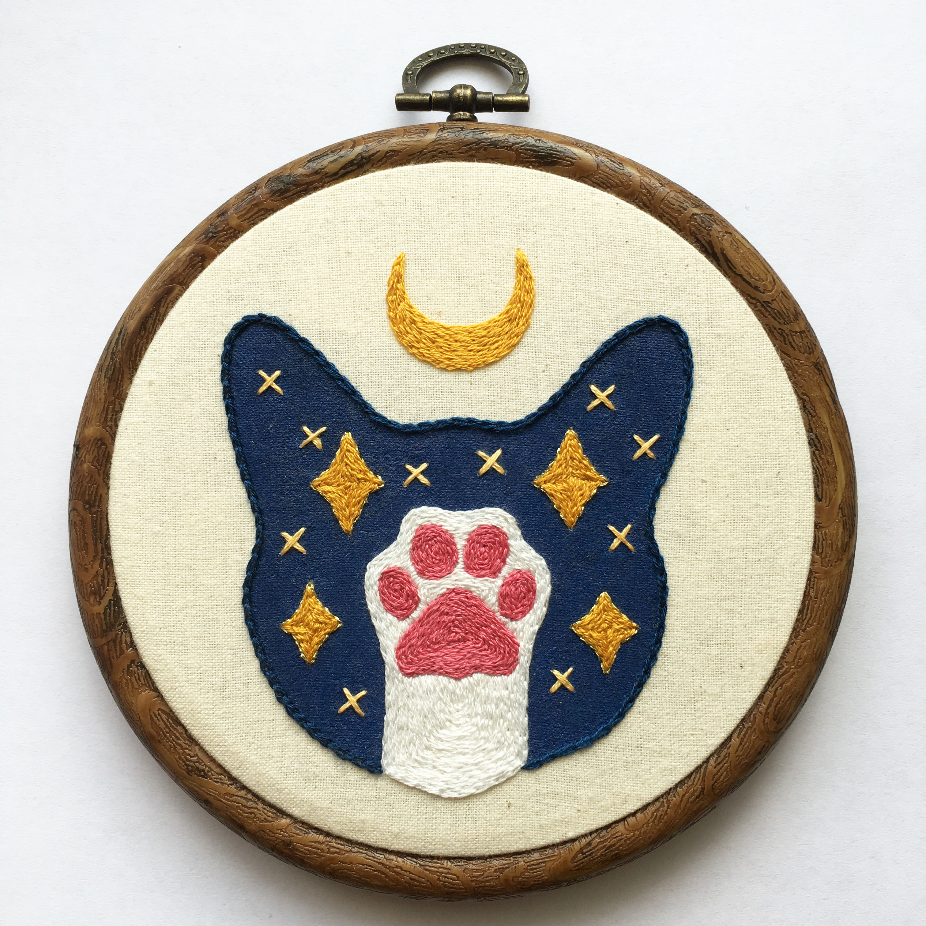Lunar Cat Beginner Hand Embroidery Pattern