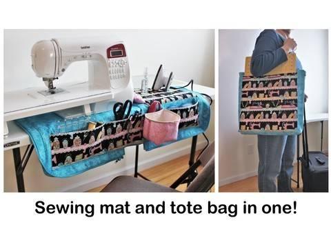 Sewing machine mat and tote bag organizer pattern at Makerist