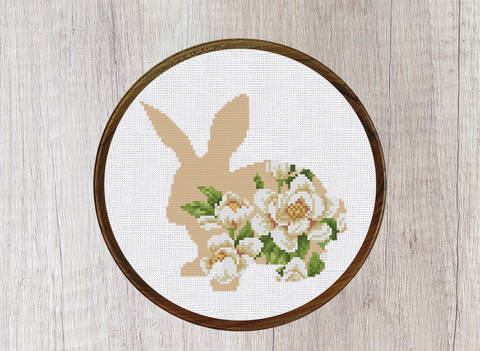 Bunny with Flower Ornament Cross Stitch Pattern