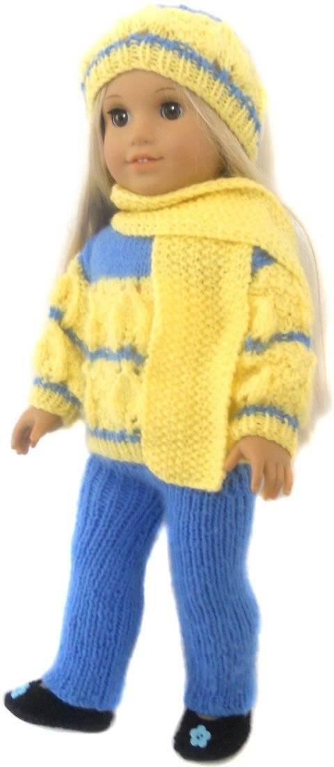 Winter sweater - Doll Knitting Pattern at Makerist