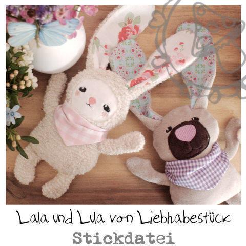 Stickdatei Lala und Lulu, Hasen ith für Babys und Große