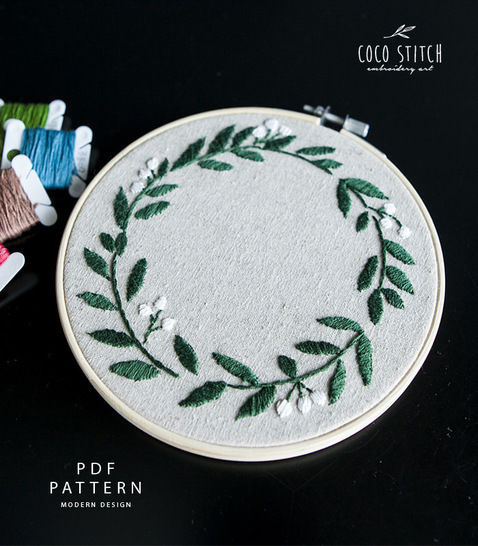 """GREEN WREATH 6"""" Embroidery PDF Pattern (#2540) at Makerist - Image 1"""