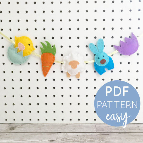Easter Garland Felt Downloadable PDF Pattern at Makerist - Image 1