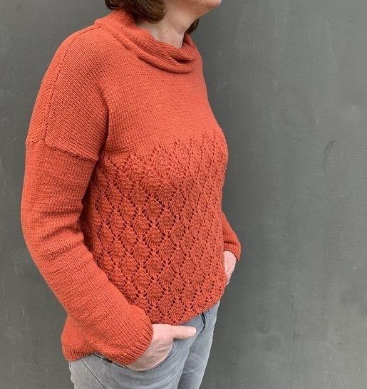 Strickanleitung, Pullover mit Blattmuster bei Makerist - Bild 1