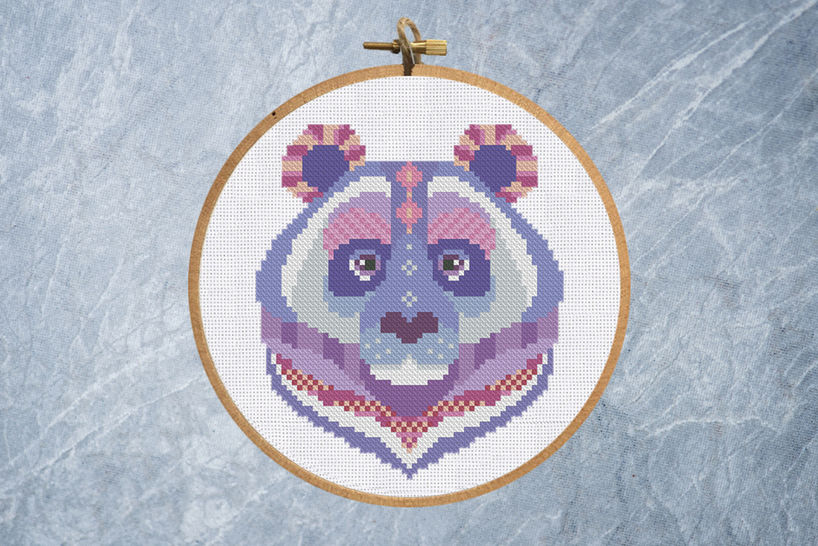 Geometric Colorful Panda Cross Stitch Pattern at Makerist - Image 1