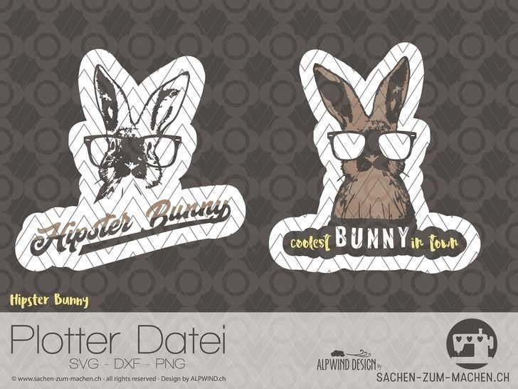 """cutting file """"hipster bunny""""  - ALPWIND ® at Makerist - Image 1"""