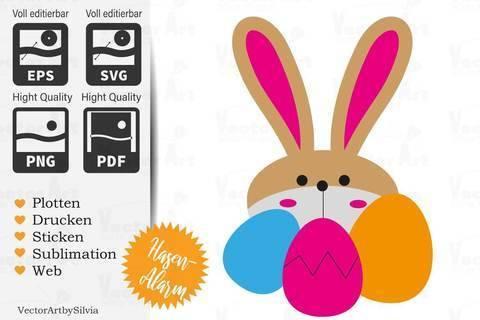 Hase mit Eiern - Plotter Doodle