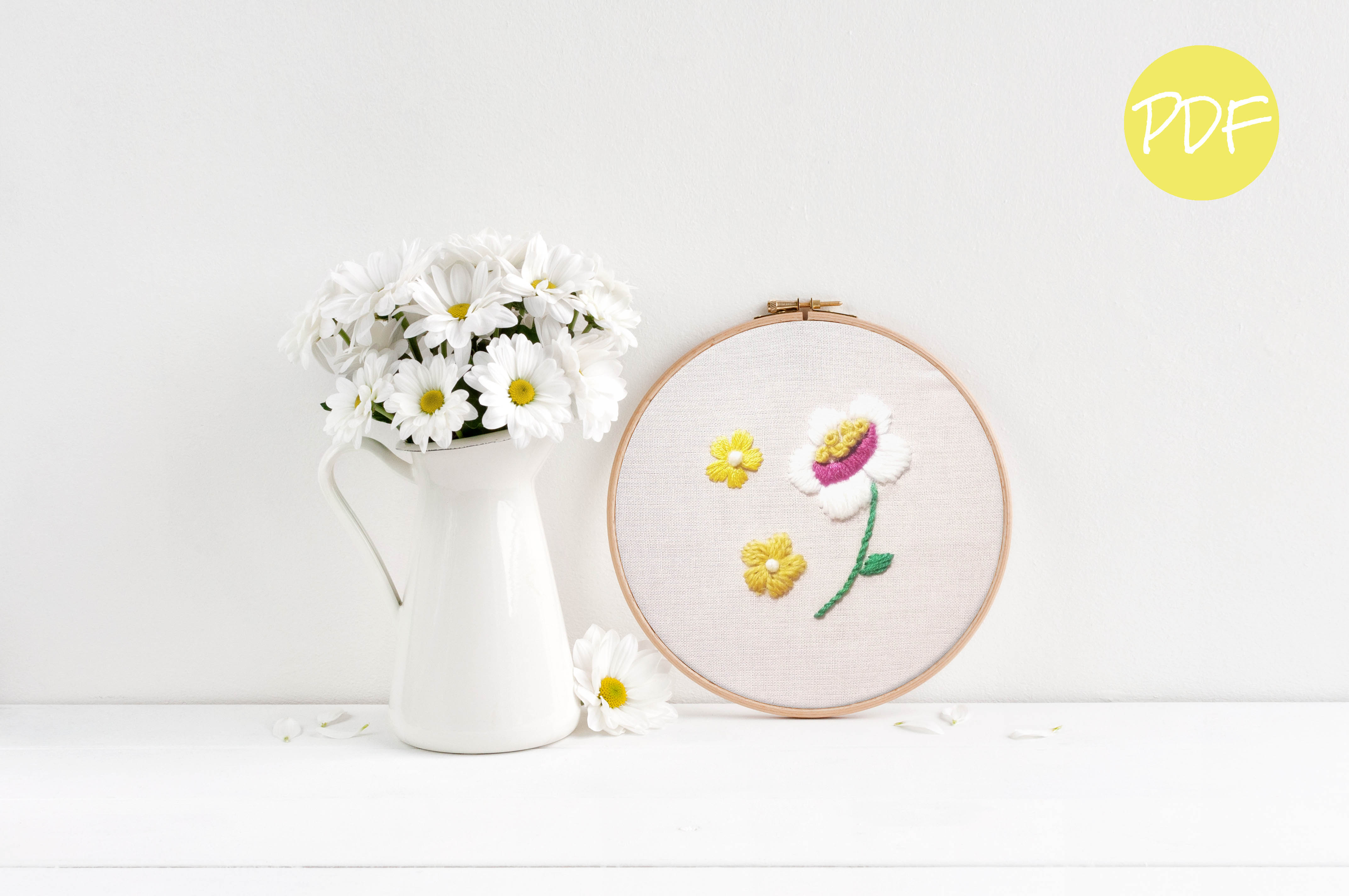 Vintage Daisies Floral Hand Embroidery Pattern