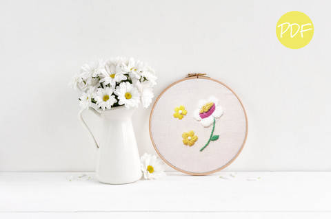 Vintage Daisies Floral Hand Embroidery Pattern  at Makerist