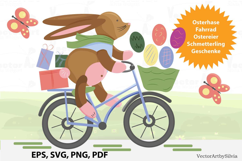 Osterhase auf dem Fahrrad - Plotterdatei Doodle