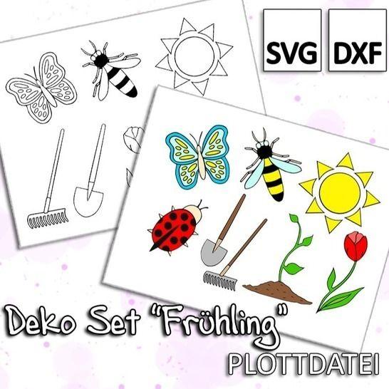 "Deko Set ""Frühling"" - Plottdatei bei Makerist - Bild 1"