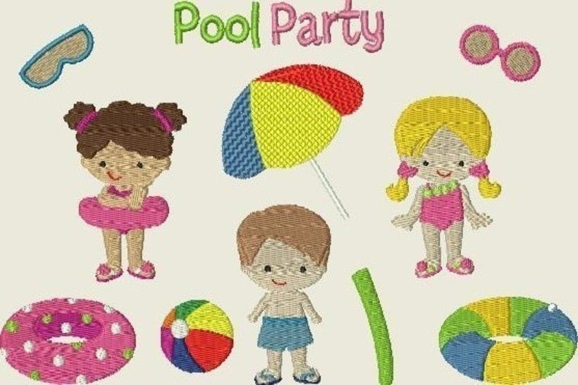 Stickdatei, Poolparty, Sommer, Sonne, Urlaub Set 309 bei Makerist - Bild 1