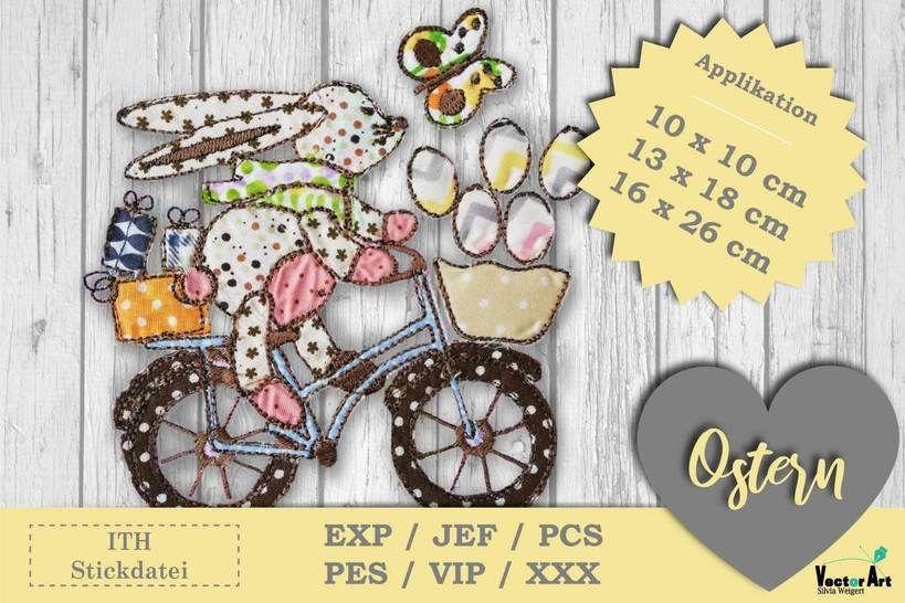 Osterhase mit Fahrrad - Doodle Applikation Stickdatei bei Makerist - Bild 1