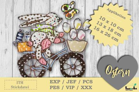 Osterhase mit Fahrrad - Doodle Applikation Stickdatei