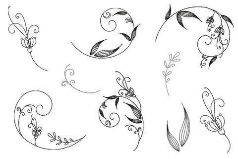 Stickdatei - Flower Swirls Line Art in PES