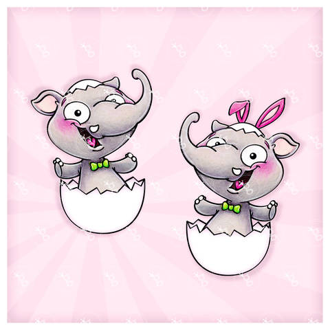 "digi stamp set ""elephant in egg"""