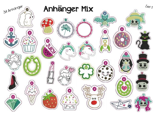 Stickdatei ITH - Anhänger Mix 1 in PES