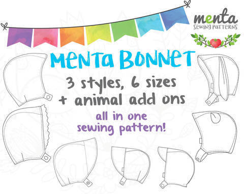 Menta Bonnet All sizes included / 3 styles at Makerist