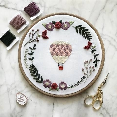 Hot Air Balloon Wreath - embroidery pattern