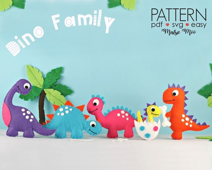 Felt Dinosaur Sewing Patterns | Dino Plush Pattern  at Makerist - Image 1