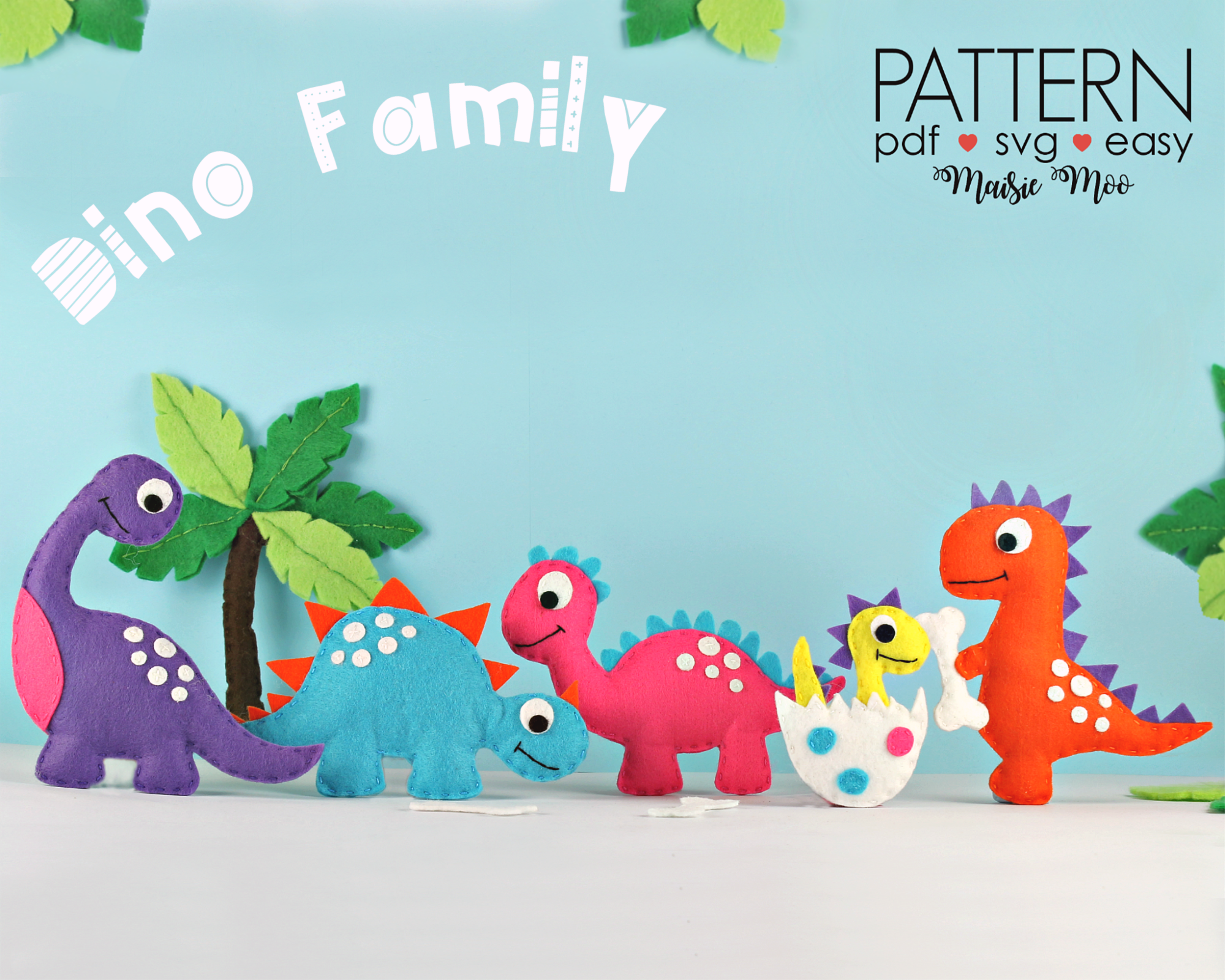 Felt Dinosaur Sewing Patterns | Dino Plush Pattern