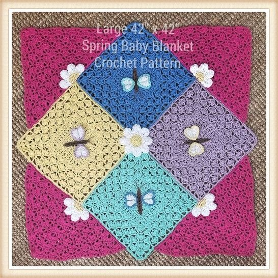 Spring Dragonfly Baby Blanket Crochet Pattern at Makerist - Image 1