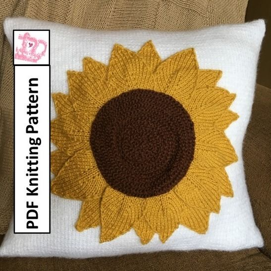 Sunflower pillow knitting pattern at Makerist - Image 1
