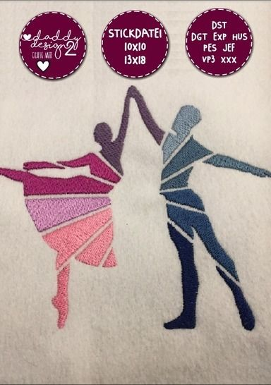 Ballett-Stickdatei - DANCING - 10x10 18x13 bei Makerist - Bild 1