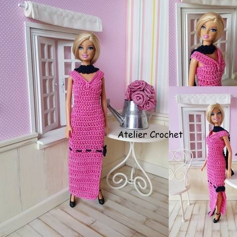 """Pink and Black"" patron crochet pour poupée Barbie chez Makerist"