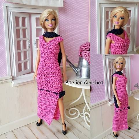 """""""Pink and Black"""" crochet pattern for Barbie"""
