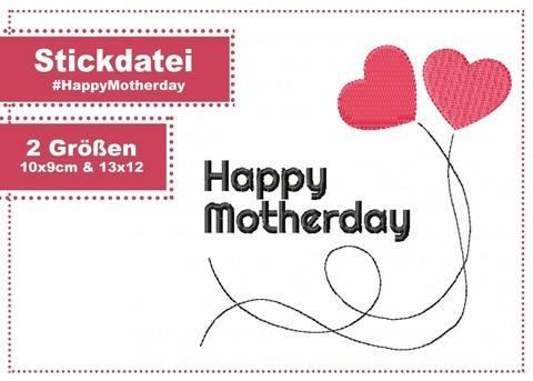Stickdatei #HappyMotherday ab 10x10 Rahmen 2 Größen bei Makerist