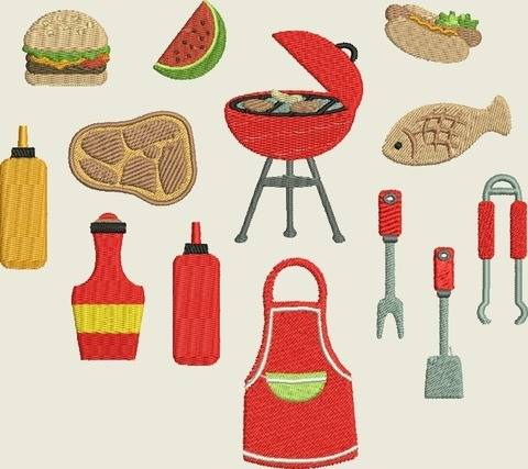 Stickdatei Grillen, Hamburger, Hot Dog, Grill Set 454 bei Makerist