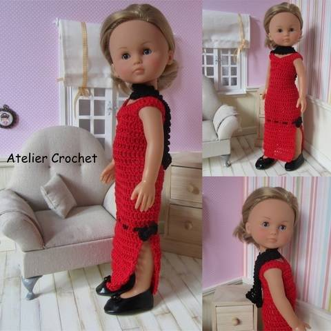 """""""Red and Black"""" crochet pattern for Chérie Corolle"""