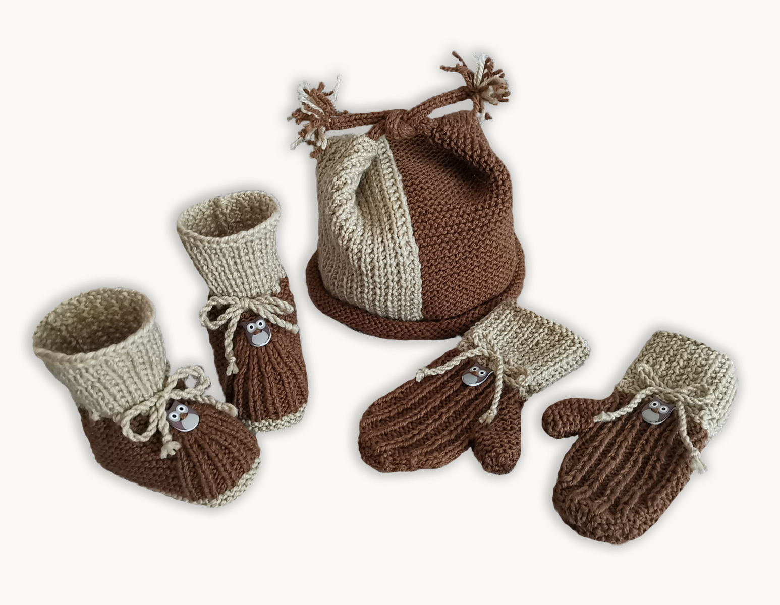 Whoo-Whoo Booties, Cap and Mittens (0-9 months)