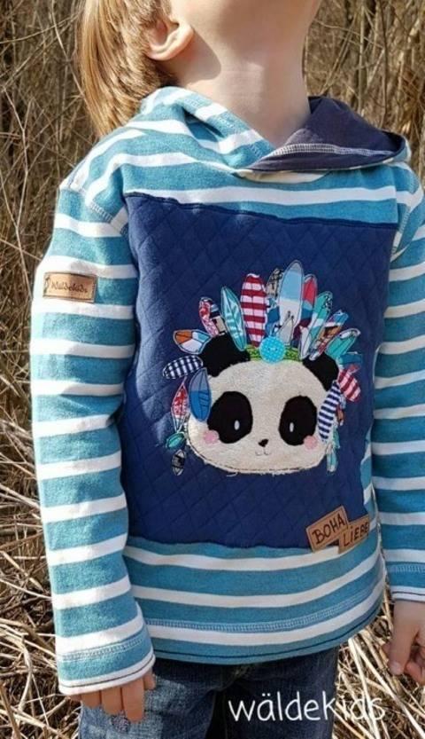 Stickdatei Boho Panda Häuptling 18x30 bei Makerist