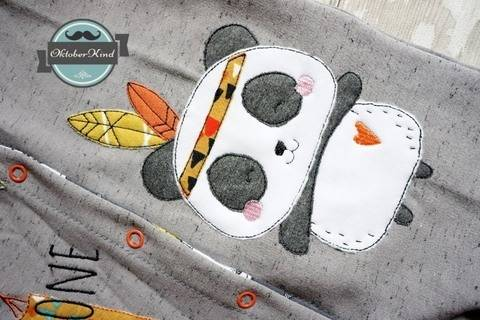 Stickdatei Boho Panda Indianer 13x18 bei Makerist