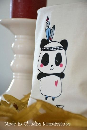 Plottervorlage Boho Panda Indianer bei Makerist - Bild 1