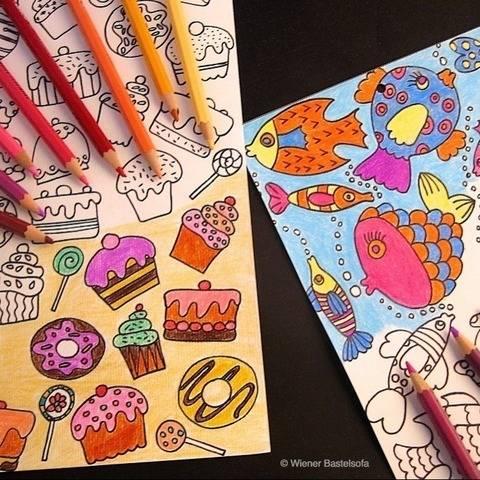 Kreativer Geburtstagskalender mit 13 Ausmalbögen bei Makerist