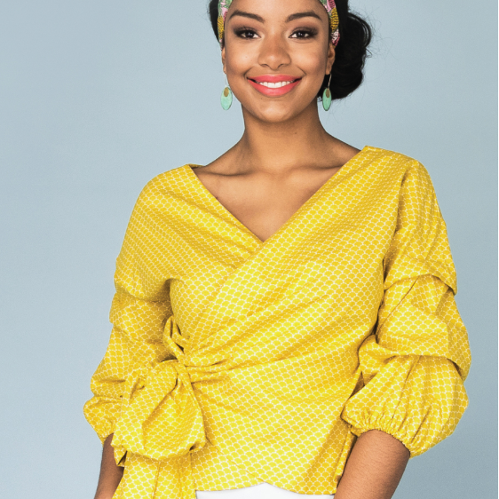 Screwdriver // Women's Wrap Top with Dramatic Sleeve