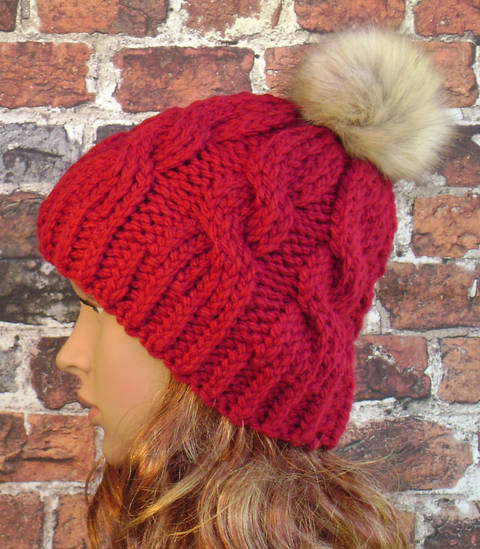 Cable Knit Beanie - Knit Pattern - Women's Hat