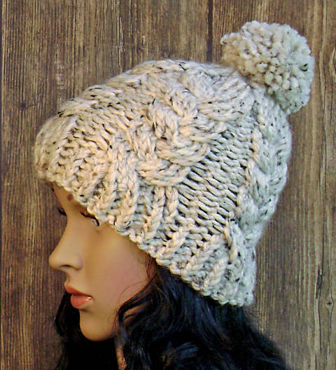 Braided Cables - Knit Pattern - Women's Hat