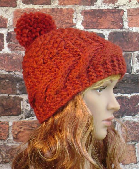 Cable Banded Hat - Knit Pattern - Women's