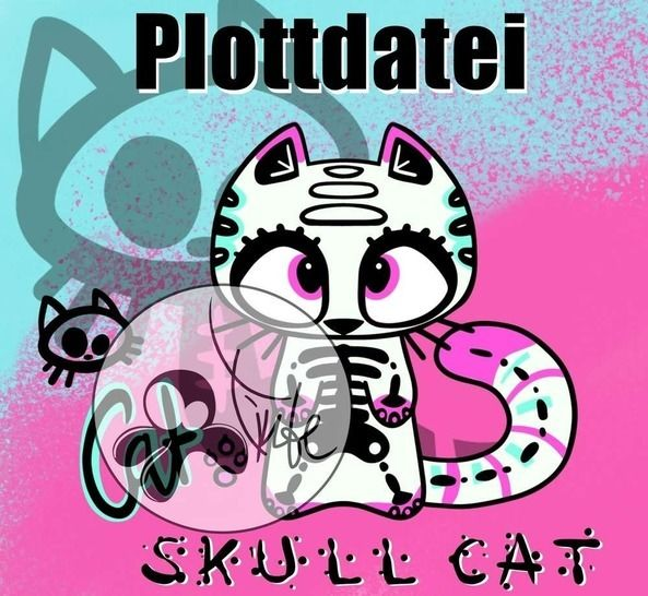 Plottdatei Skull Cat bei Makerist - Bild 1