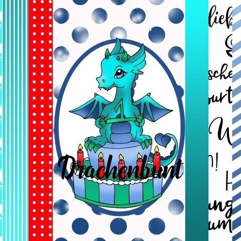 Digistamps Set Digital Paper Drache auf Torte Geburtstag bei Makerist