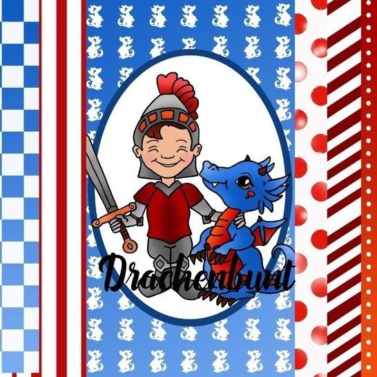 Digistamps Set Digital Paper Ritter Drache für Jungen bei Makerist - Bild 1